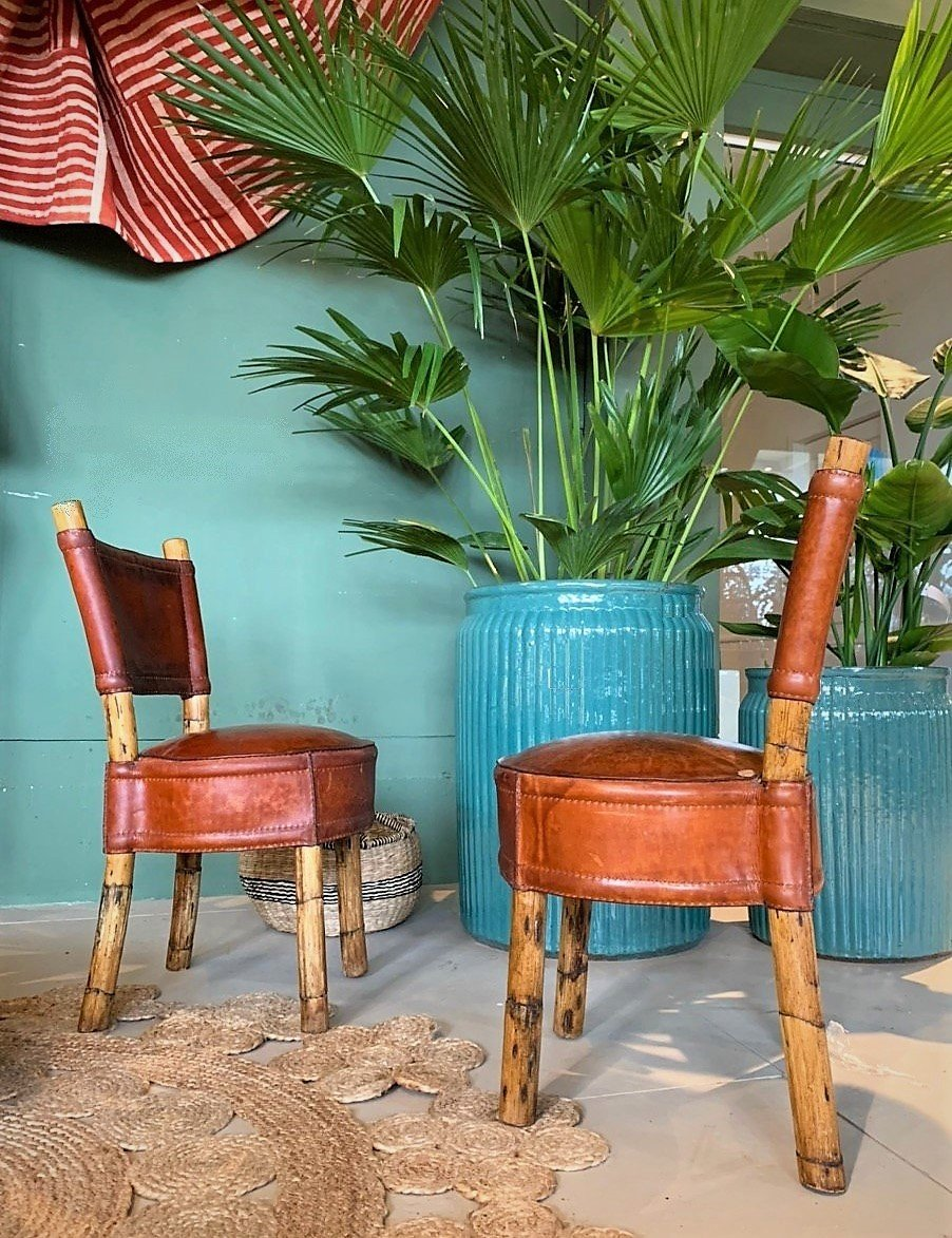 Vintage leather and rattan chairs