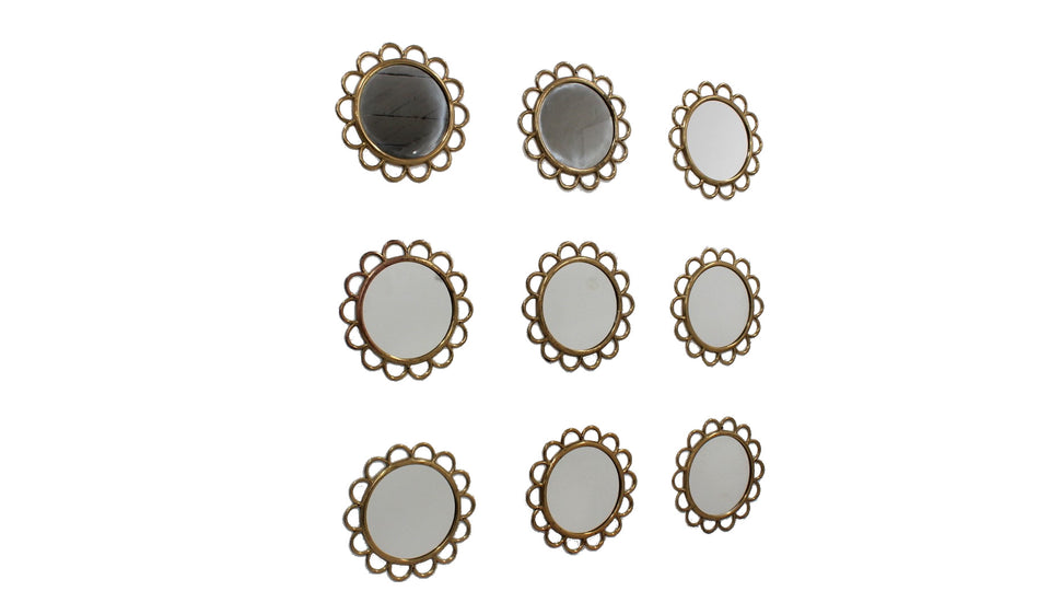 Modular round brass wall mirror 1950s, set of 9