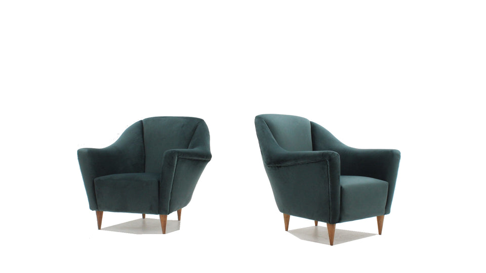 Ico Parisi velvet armchairs for Ariberto Colombo 1950s