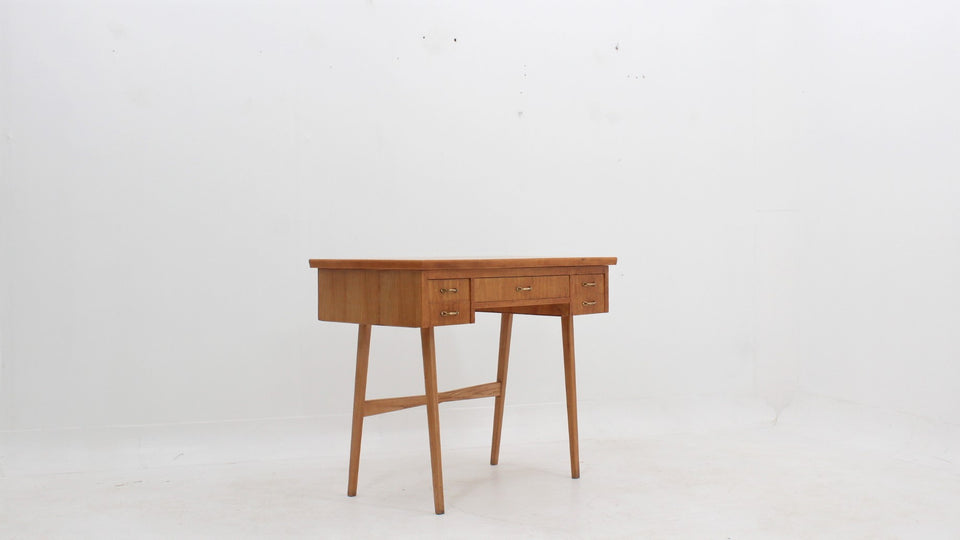Vintage oak dressing desk with mirror 1950s