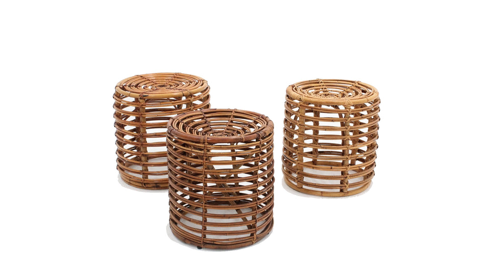 Tito Agnoli rattan stools / tables  1960s, set of 3