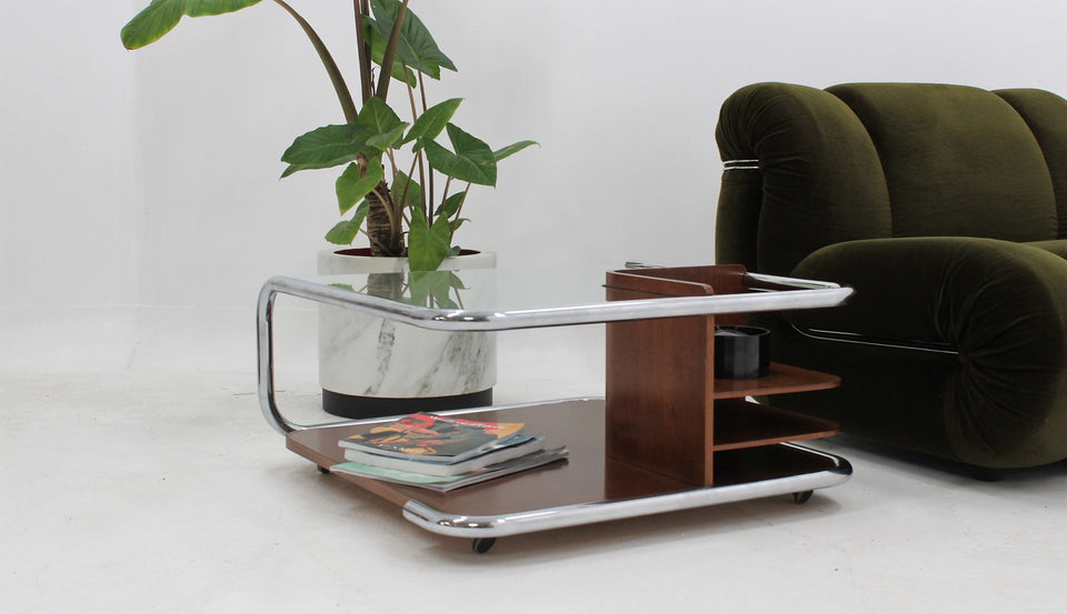 Vintage trolley coffee table 1970s