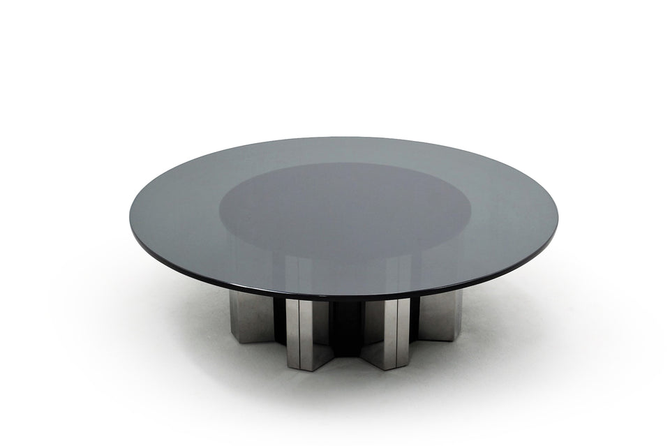 Tavolino Willy Rizzo anni 70, Glass round coffee table WILLY RIZZO, 1970s