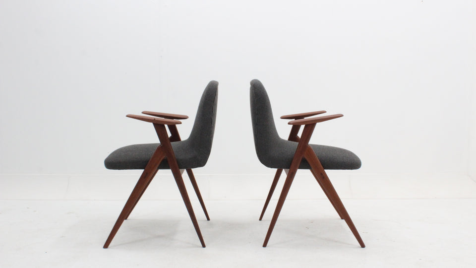 Pair of italian design teak easy chairs 1950s, poltroncine anni 50 teak