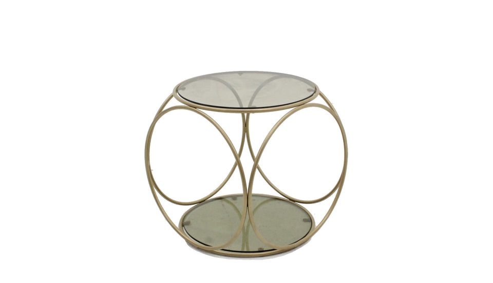 Gold round coffee table 1970s, tavolino rotondo vintage