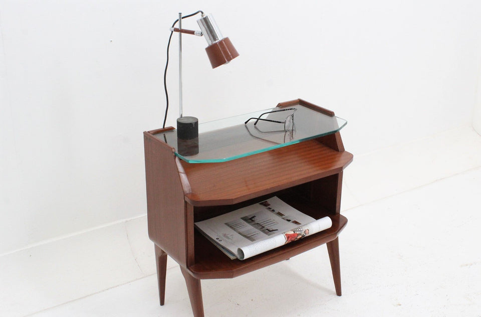 Italian rosewood nightstands 1950s, comodini vintage anni 50