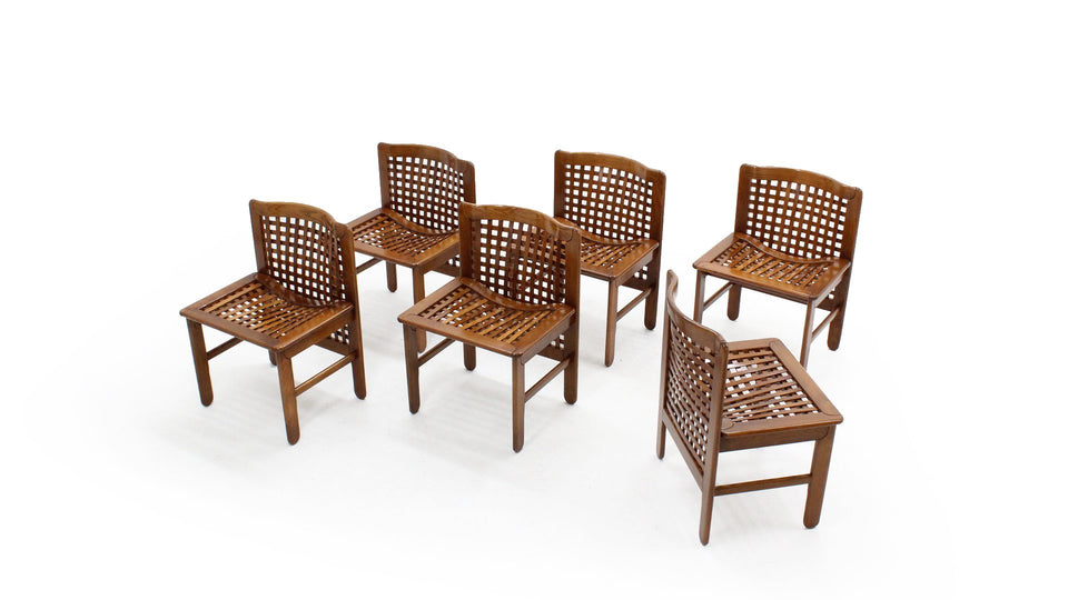 Vintage italian design woven wood dining chairs, Set da 6 sedie design anni 70