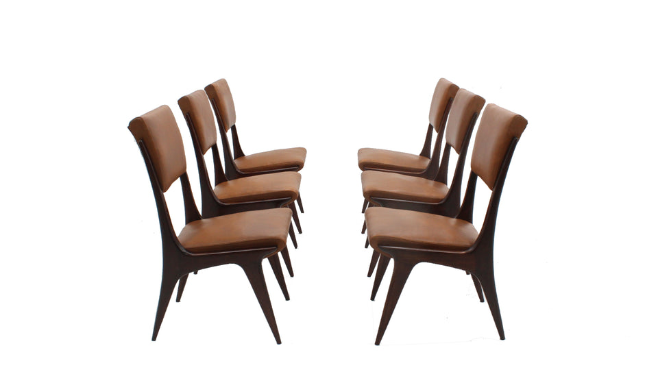 Italian mahogany dining chairs 1950, set of 6