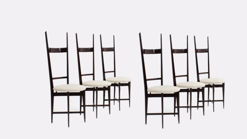 Set of 6 dining chairs by Santambrogio e De Berti 1950s, sedie anni 50 design