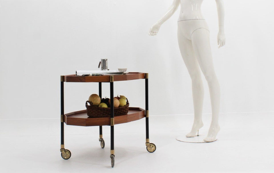 Italian double shelf serving trolley by Bergonzi 1950, carrello portavivande anni 50
