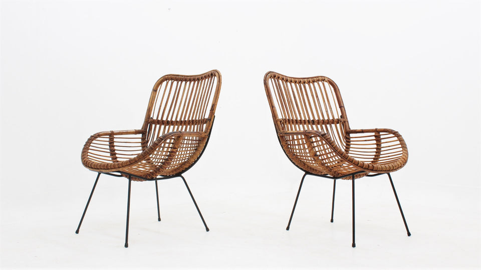 Italian mid centuy rattan shell-shaped chairs 1950s