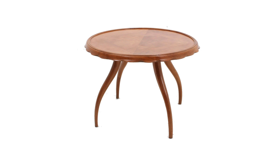 Osvaldo Borsani walnut round coffee table 1940s