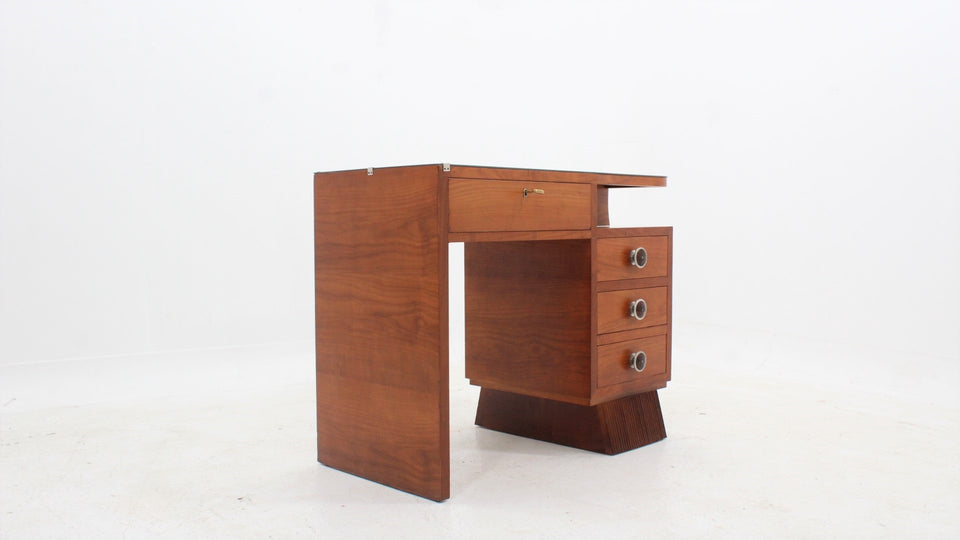 Italian art deco cherry wood desk 1930s