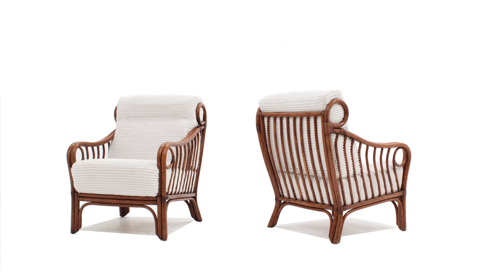 Lyda Levi for McGuire vintage rattan armchairs 1970s
