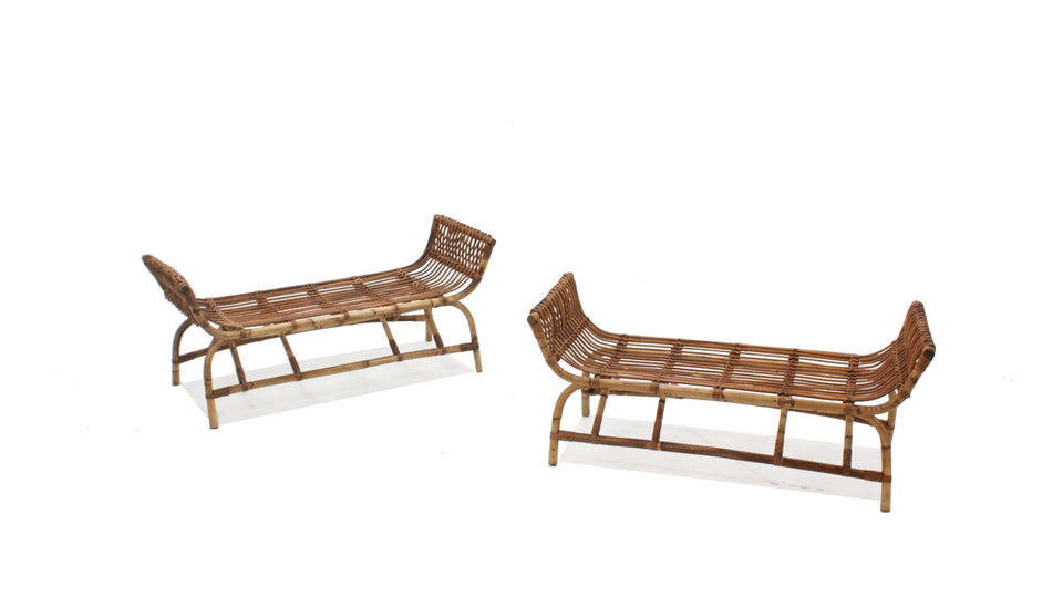 Mid century rattan bench, set of 2