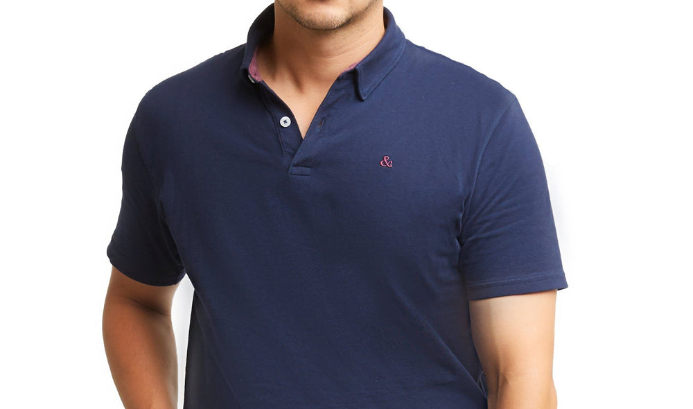 H&F Short Sleeve Blue Polo, Blue Short Sleeve Polo, Lightweight Polo Shirt, 4 Way Stretch Polo Shirt, Blue and Maroon Red Polo Shirt