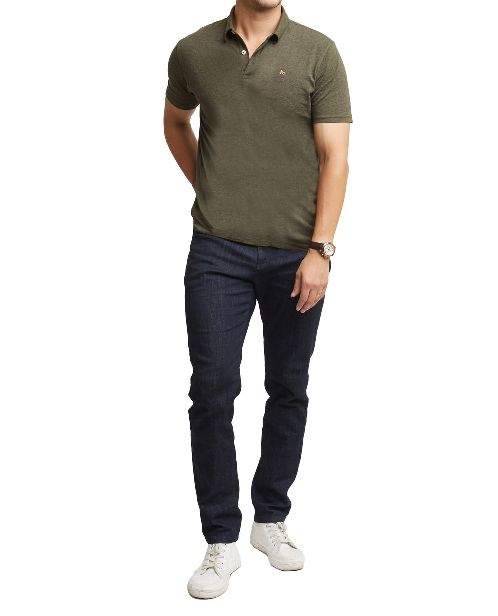 H&F Short Sleeve Green Polo, Army Green Short Sleeve Polo, Lightweight Polo Shirt, 4 Way Stretch Polo Shirt
