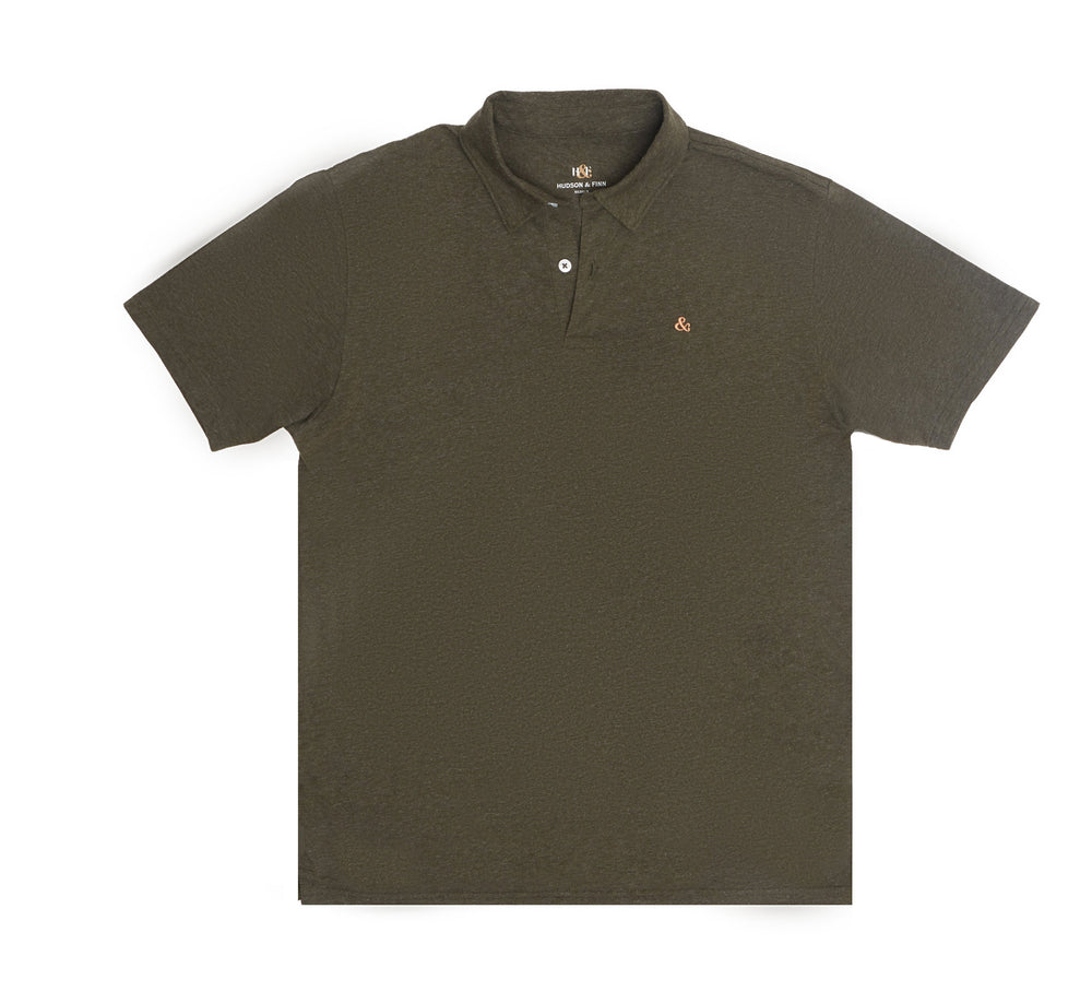 H&F Short Sleeve Polo, Army Green Short Sleeve Polo, Lightweight Polo Shirt
