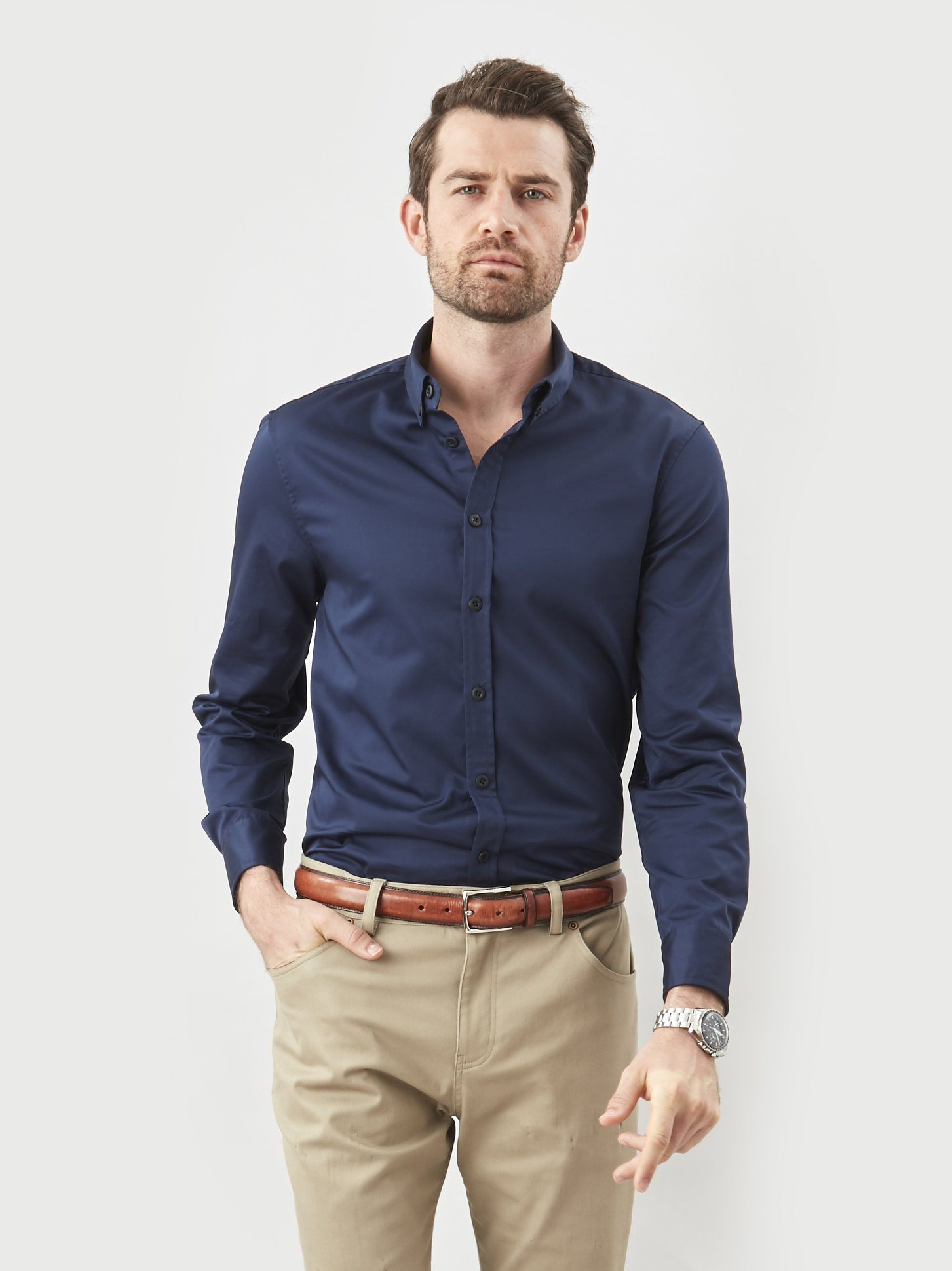 khakis and button down shirt