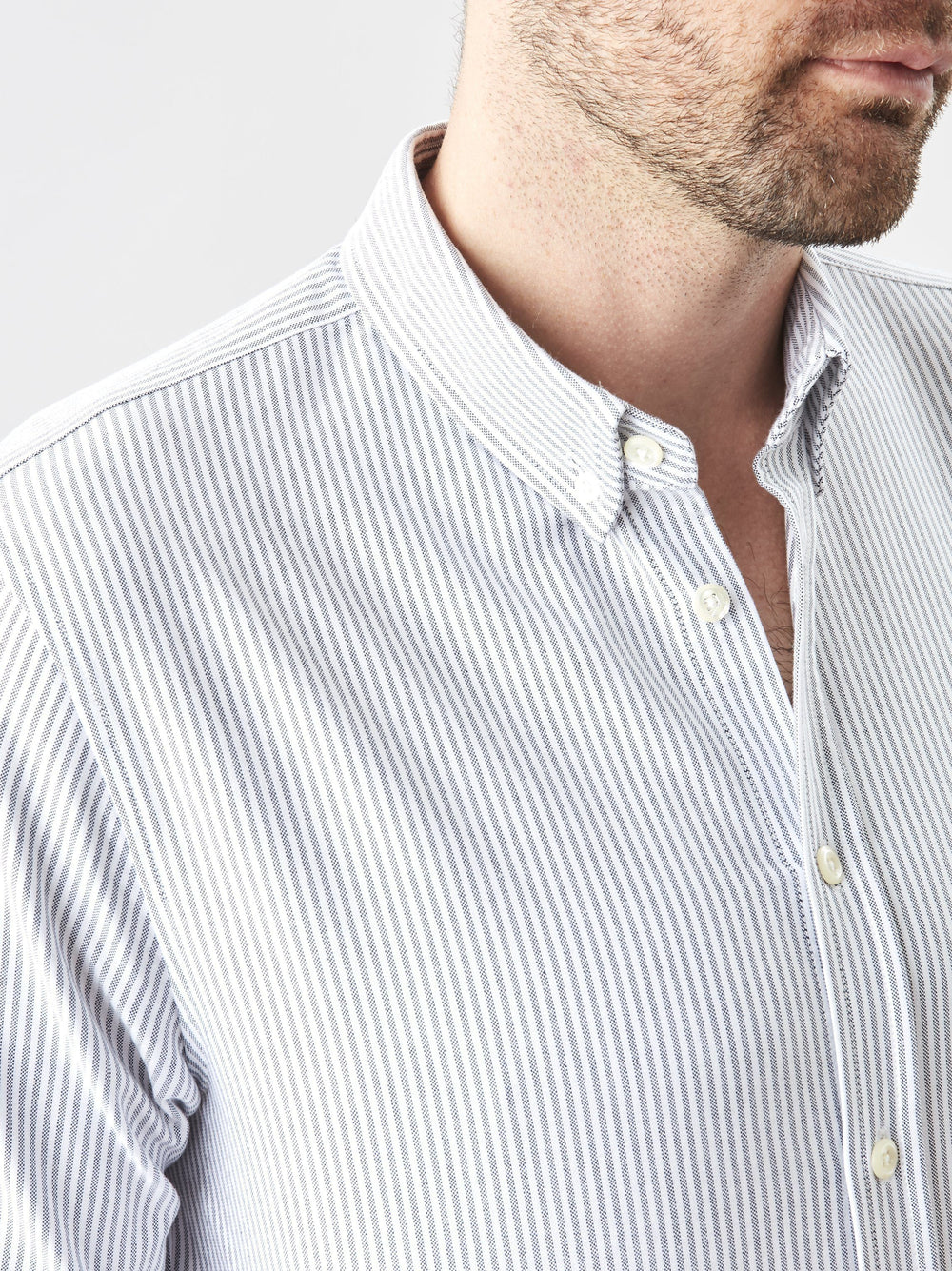 Shirt - Button Down- Oxford Charcoal Stripe