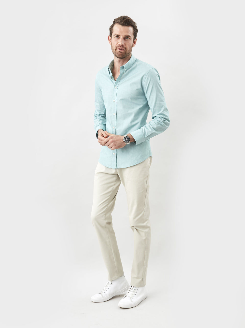 Shirt - Button Down- Teal End On End