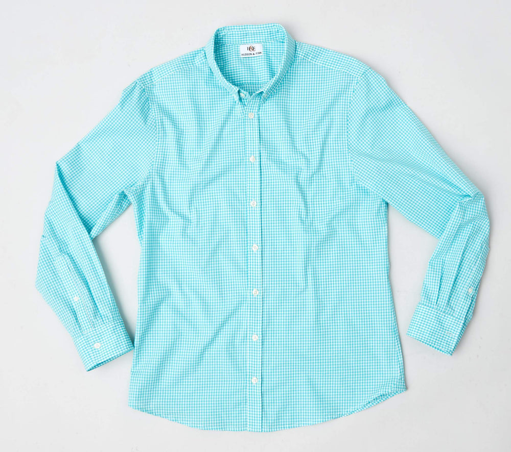 Shirt - Button Down- Turquoise Gingham
