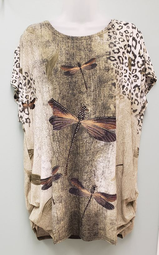 Casa Donna Top - Dragonfly Print