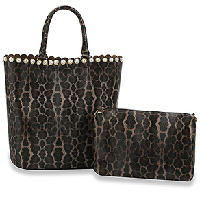 Fresh Paint Collection Handbag - Leopard Print and Pearl with Wallet