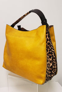 Fresh Print Collection Handbag - Yellow with Leopard Print