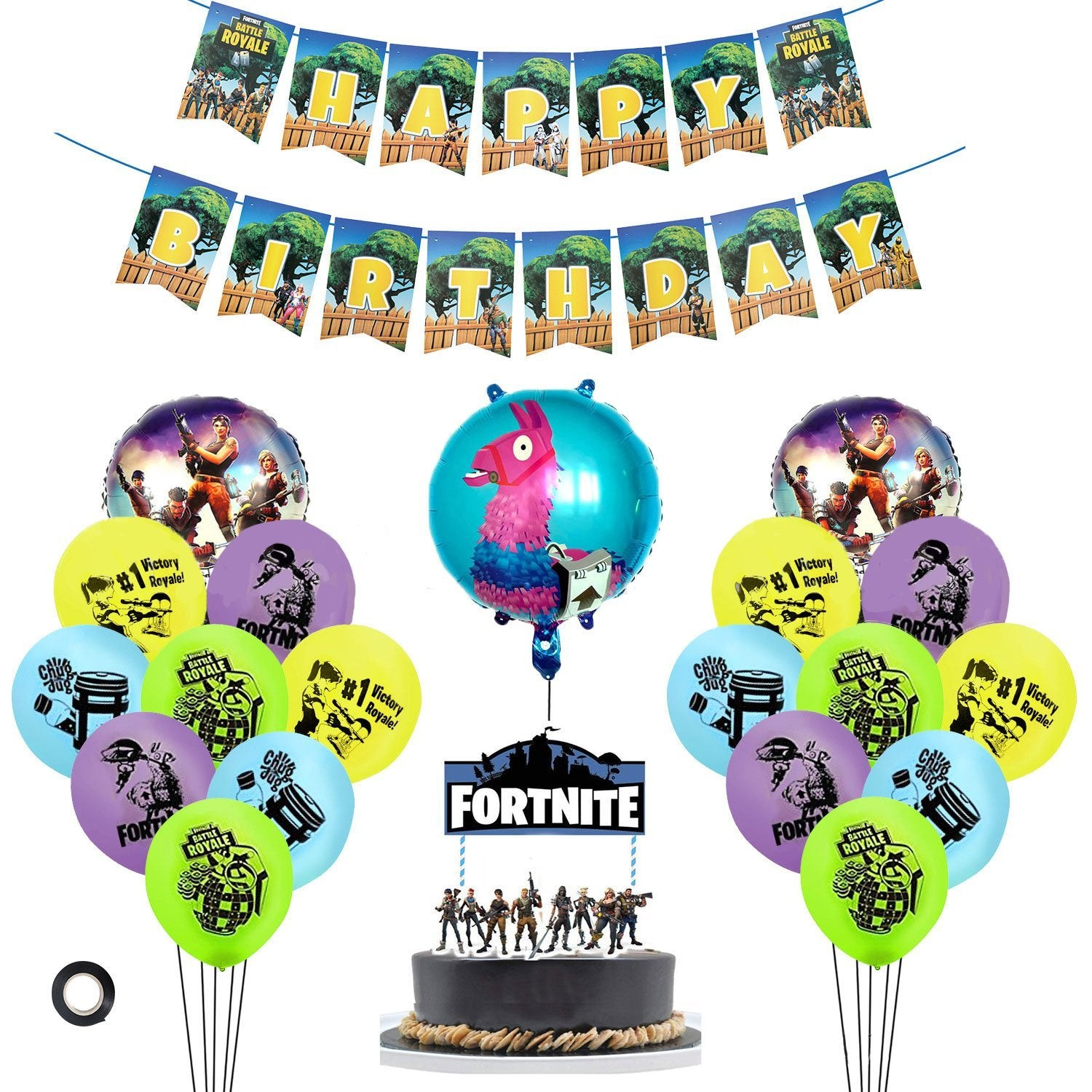 Fortnite Balloons Banner Cake Topper Kit Party Supplies