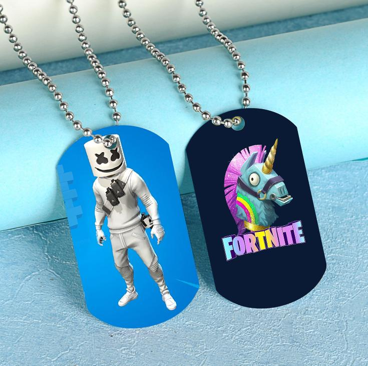 Fortnite Dog Tag Necklace Steel Ball Chain Dog Tags Party Favors 12pcs