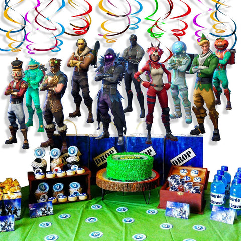 Fortnite Game Theme Characters Party Supplies Swirls with Cutouts Party Decoration