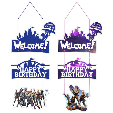 Fortnite Game Theme Characters Welcome Home Sign Party Supplies Front Door Decoration