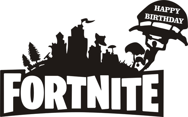 Fortnite Black Swirls with Cutouts Party Decoration