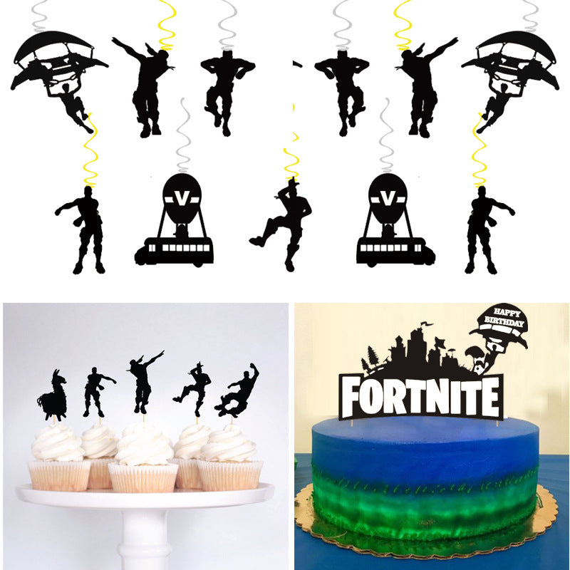 Fortnite Green Banner And Swirls with Cutouts Party Decoration