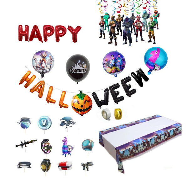 Fortnite Halloween Balloons Table Ware Kit Party Supplies
