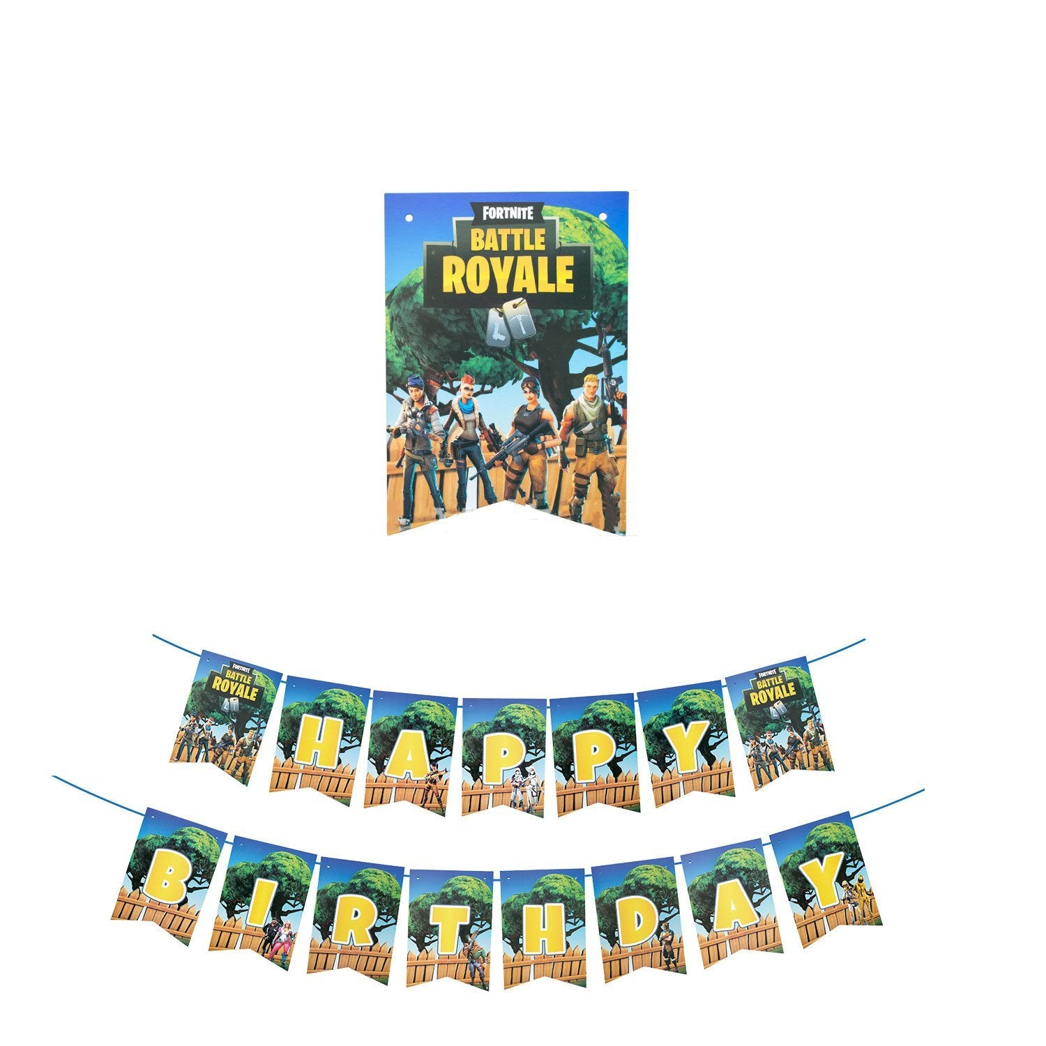 Fortnite Green Birthday Banner Party Supplies