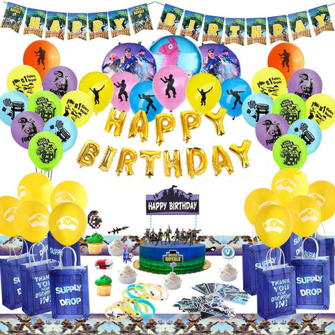 Fortnite Themed Balloons Party Supplies Whole Set Birthday Party Decoration