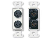 D-XLR2F Dual XLR 3-pin Female Jacks on Decora® Wall Plate - Solder type