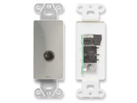 "DS-1/4F 1/4"" Headphone Jack on Decora® Wall Plate - Stainless steel"