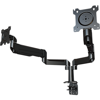 Dual link dual monitor desktop arm system with through-hole mounting base