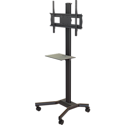 "Mobile cart with metal shelf, height and tilt adjustment for 37"" to 63""+ Plasma, LCD or LED screens"