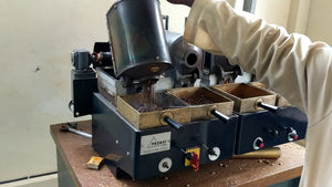 Coffee sample roasting in Kenya