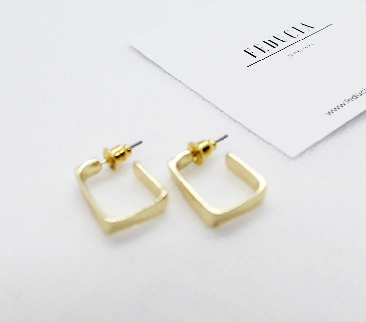 Golden Square Earrings