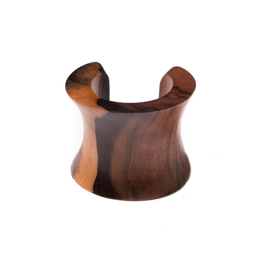 STATEMENT WAVE BANGLE BROWN WOOD