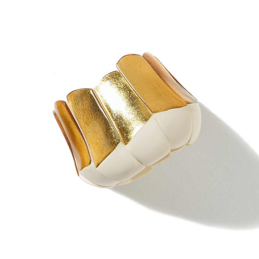 STATEMENT 11 ELEMENT STRETCH RIO BRACELET CREAM RESIN/GOLD