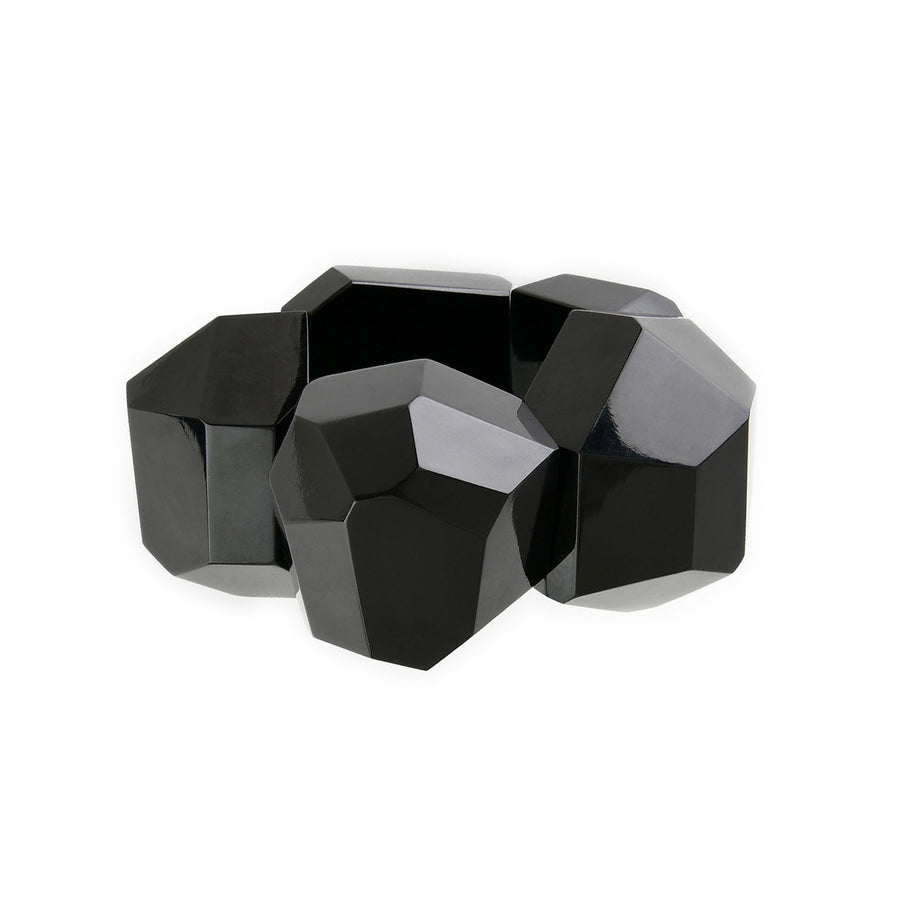 FACETED BLOCK STRETCH CUFF BLACK