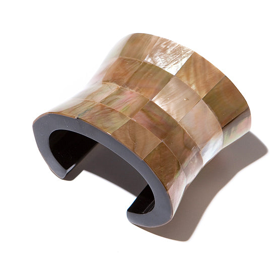 MOTHER OF PEARL SCULPTURAL CUFF. BLUSH