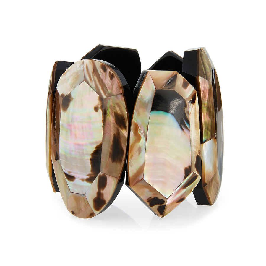 FACETED MOP STATEMENT STRETCH CUFF LEOPARD