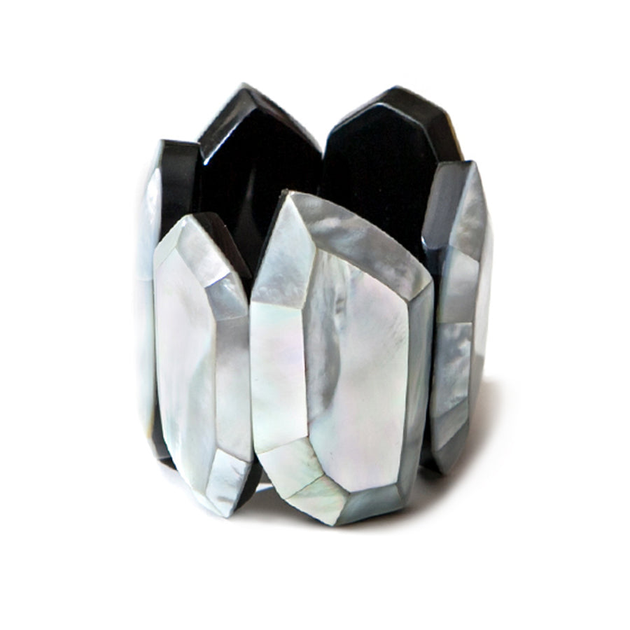 FACETED STATEMENT CUFF BRACELET SILVER MOP